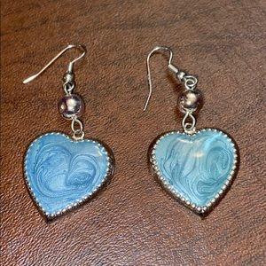 Blue marble heart earrings